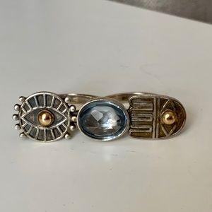 Double Finger Egyptian Amethyst Ring